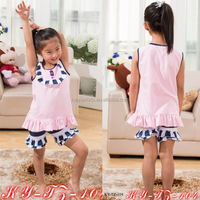 100% Cotton SUmmer Outfits Pink and Navy Set Wholesale Children's Boutique Clothing