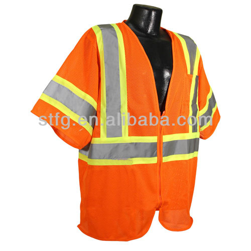 EN471 green / red long sleeves reflective Safety Vest with reflective stipe & pockets for man