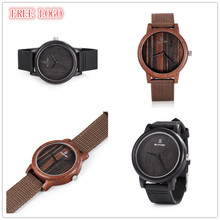 OEM Custom Logo Watches Men Wood Watch Free Dropshipping Men Genuine Leather Watches