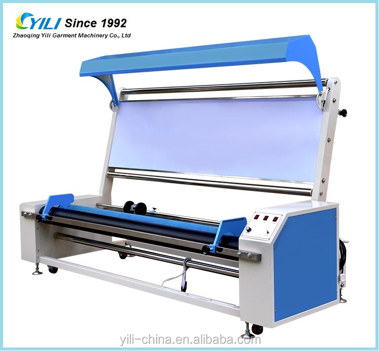 Small textile woven fabric inspecting measuring and rolling machine, woven cloth length measuring machine and winding machine