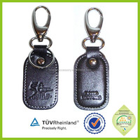 Custom eco-friendly material cheap embossed leather keyrings