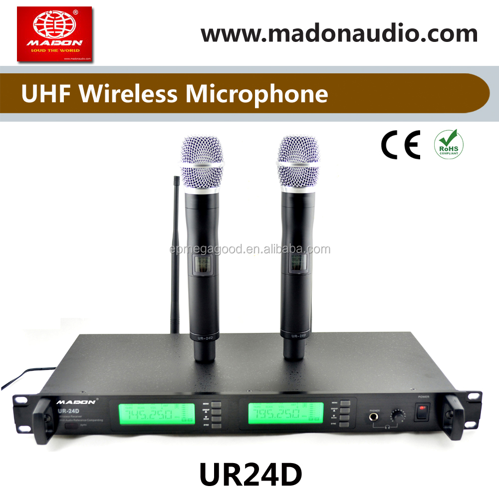 UR24D dual UHF PLL true diversity wireless microphone system