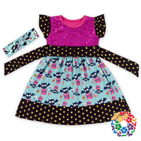 2016 Wholesale Girls Cotton Frock Designs Bat Printed Baby Halloween Dress Cotton & Polyester Frock Design For Girls