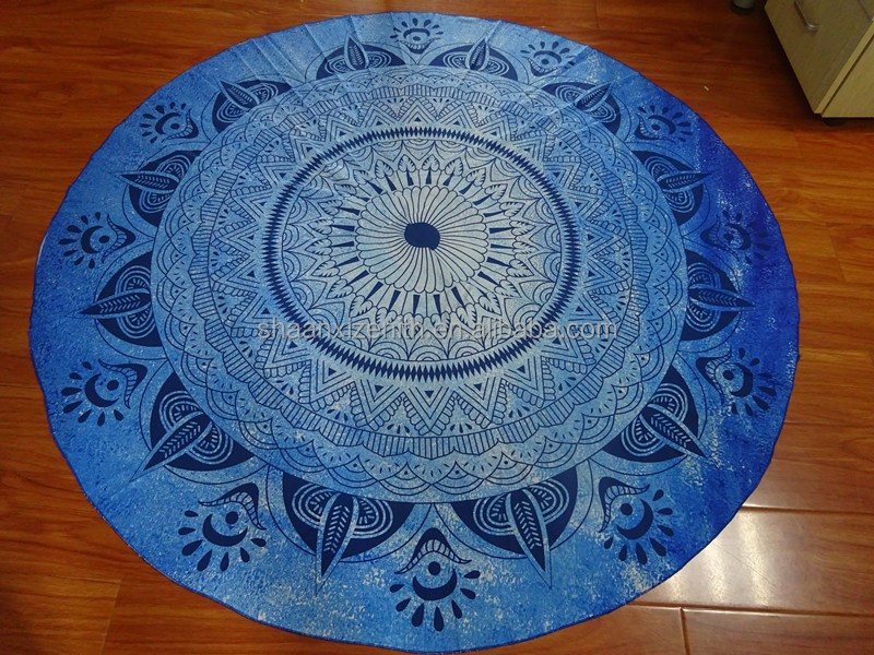 2016 New Design Cotton Fabric Round Towels, Donut Mandala Printed Round Fabric Blanket Yoga Mat
