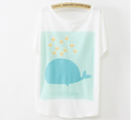 Loose new short sleeve fish design summer lady fancy woman fashion print casual t-shirt
