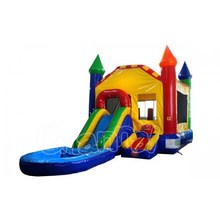 Rainbow Inflatable Bouncy Castle, Commercial Inflatable Jumping Castle with Water Slide