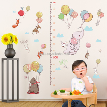 Colorful balloon kids wall growth chart sticker islamic wall art cartoon stickers