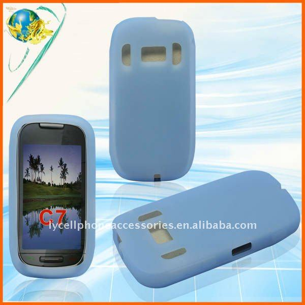 For Nokia C7 light blue silicone rubber skin case