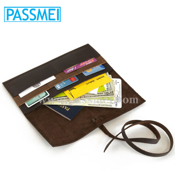 Dark Chocolate Brown Genuine Leather Travel Wallet With Passport Pocket