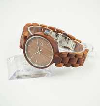 High quality OEM customized logo men women natural red sandalwood cheap wooden wrist watch