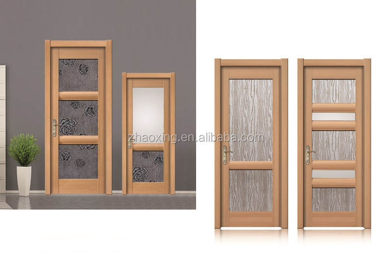 Soundproof Solid Wood and PVC Plastic Interior Door With Glass