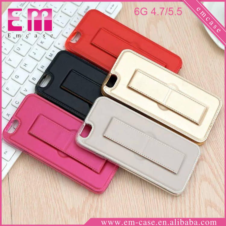 Leather Cover Grip TPU Holder Case For iPhone 6/6 Plus Soft Kick Stand Case