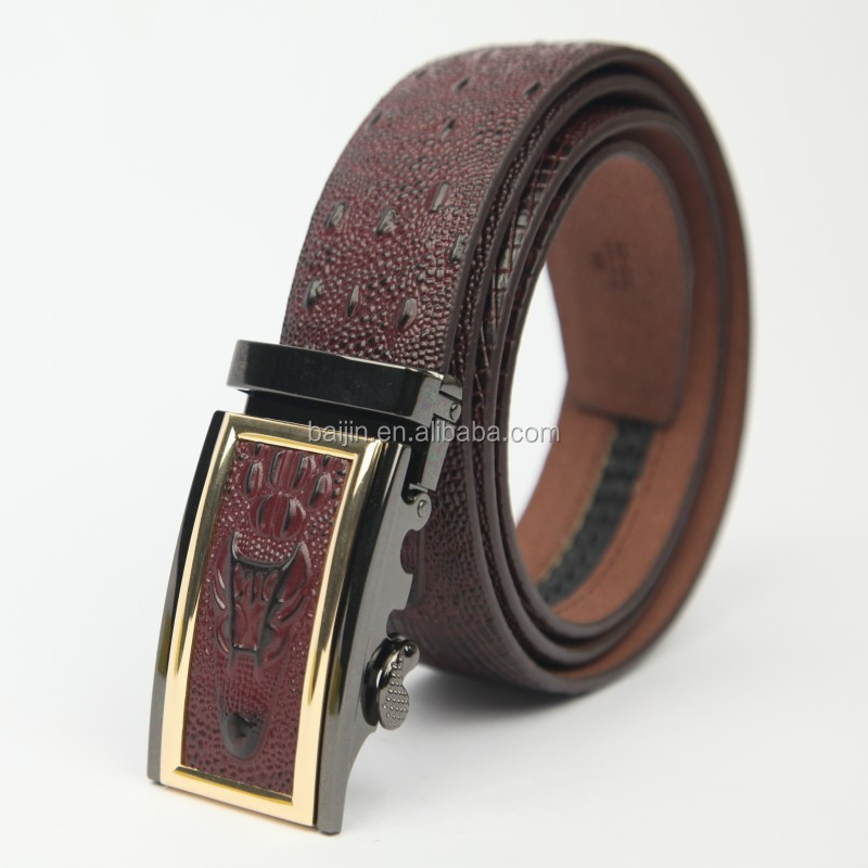 crocodile pattern automatic buckle Genuine leather <strong>belt</strong> for mens