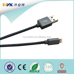 Metal tip fabric nylon braided mfi certified 8pin usb cable for iphone 5/5s/6/6+