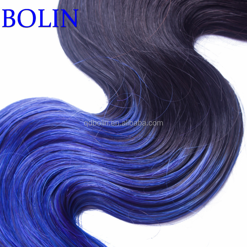 Brazilian Body Wave 1B/Blue Hair Ombre Brazilian Virgin Human Hair Weave