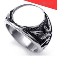 Cheap Stainless steel American flying eagle masonic ring with flat mirror top mason ring
