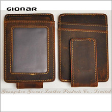Hot Sell Good Quality Crazy Horse Leather Vintage ID Window Strong Magnetic Money Clip Wallet