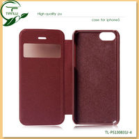 With window caller ID display leather case for iphone 5c