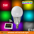 2.4G WIFI control 5W 450lm RGBW full color E14 led bulb light