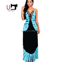 Sexy Hot Halter Sleeveless Backless Floral Printed Long Casual Maxi Dress For Women