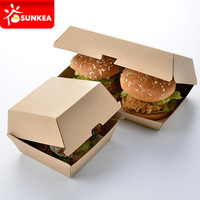 Paper clamshell box for burger