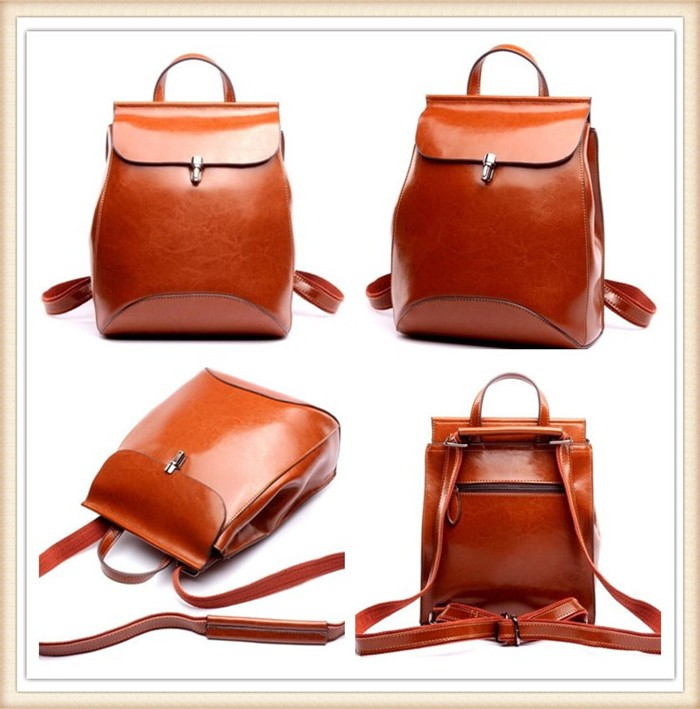 Fashion ladies backpack bag custom genuine leather backpack manufacturers china