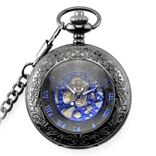 Antique Skeleton Blue Roman Numerals Dial Black Alloy Case Mechanical Hand Wind Long Fob Chain Clock Men Pocket Watch