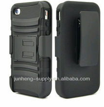 BLACK RUGGED HYBRID HARD CASE COVER BELT CLIP HOLSTER for iPhone 4 4s