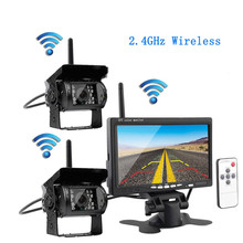 "3U-80140 Wireless Vehicle Car 2 Backup Cameras Ir Night Vision Rear View Camera + 7"" Monitor for RV Truck Trailer Bus Campers"