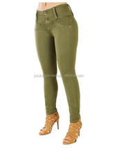 Wholesale Push Up Butt Liftting Women's Skinny Jeans Olive Color Denim Pants