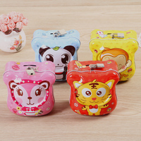 China Factory Direct Sale Animal Designs Tin Can Money Boxes with Coin Slot lock and keys