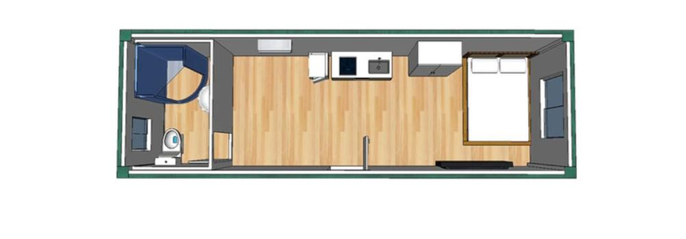 sale prefabricated glass luxury 20ft shipping steel framed one bedroom one kitchen one wash room prefab container home