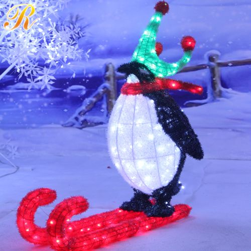 Battery operated holiday decorative crown penguin