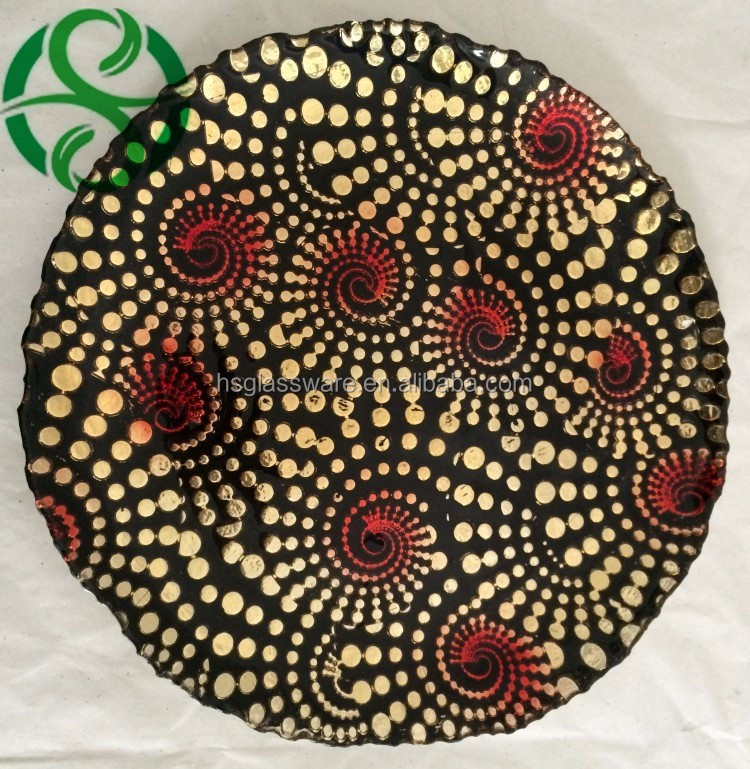 Hot Sale Black Gold Charger Plate with Red Glitter Wholesale