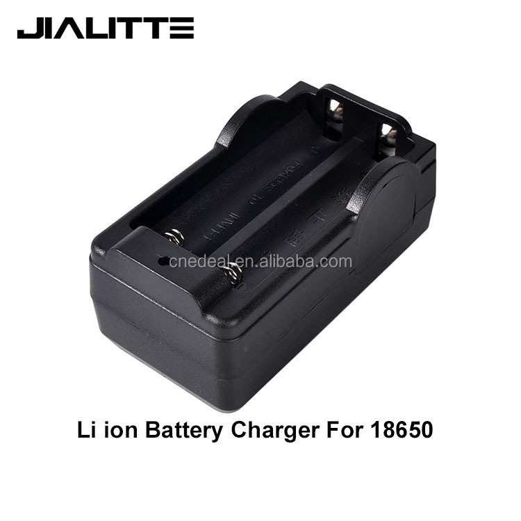 Jialitte <strong>C002</strong> Dual-slot Protable Useful lithium 18650 Battery Charger (US Plug) Black