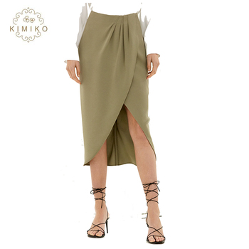 Office And Casual Ladies Asymmetrical Faux-Wrap Midi Skirt