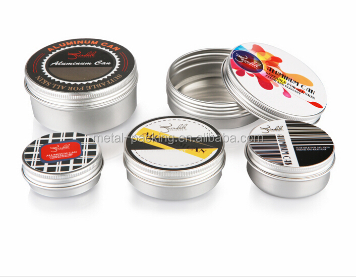 custom printed round metal tin with screw top