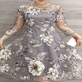 2017 New Arrival Summer Women Organza One-piece Dress Sweet Floral Print A-line See-through Dress