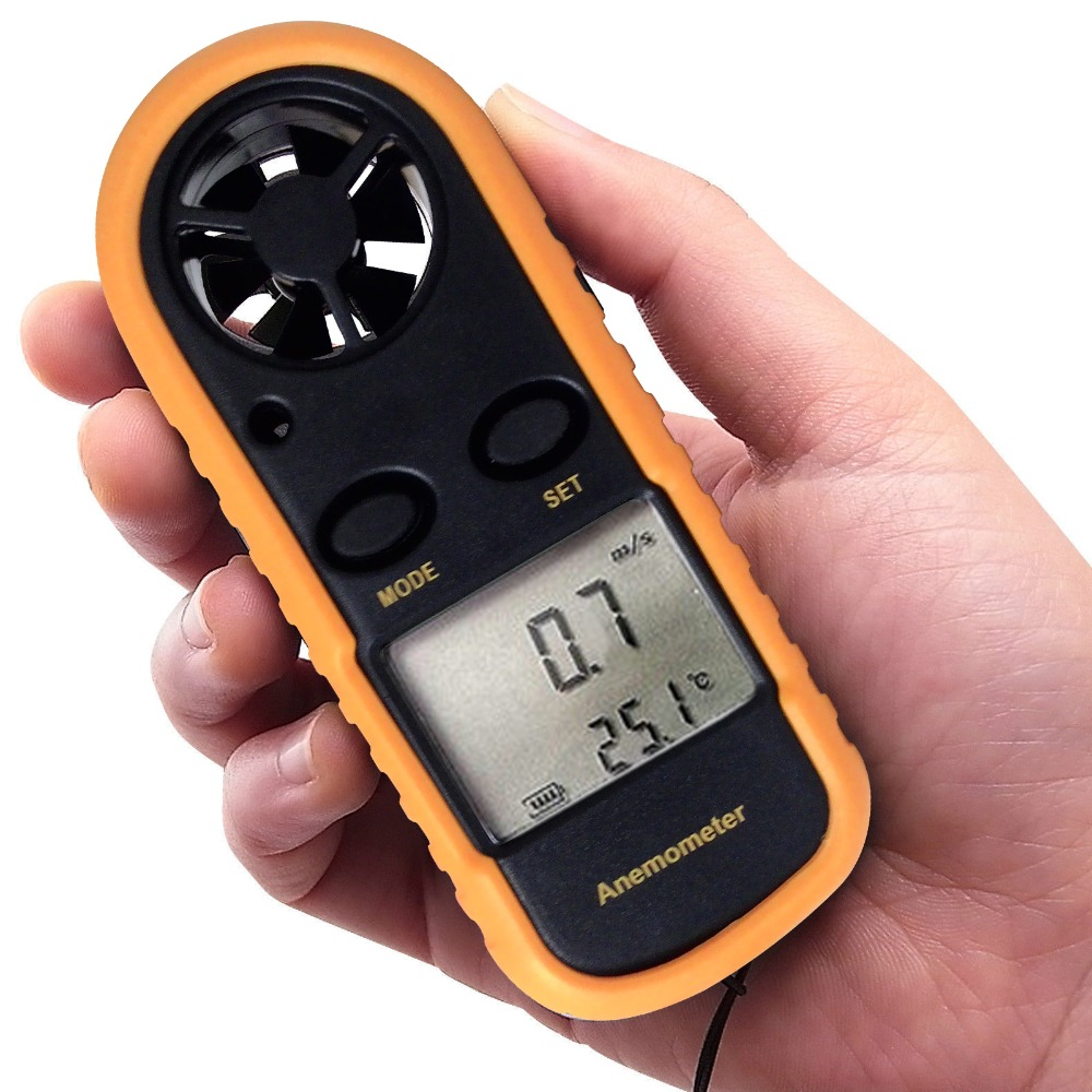 Mini Anemometer Speed Temperature Meter/ Bar Graph Thermometer Air Wind Flow Tester 2-in-1 Digital Handheld Meter