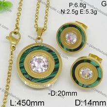 gold and green color pretty style stainless steel western jewelry set making supplies
