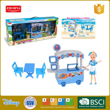 Girl toys beauty Fashion doll play set seafood icecream Hamburger fruit juice coffee Dining car pretend play set toys