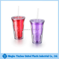 Engraving Skull Double Wall Plastic Tumbler