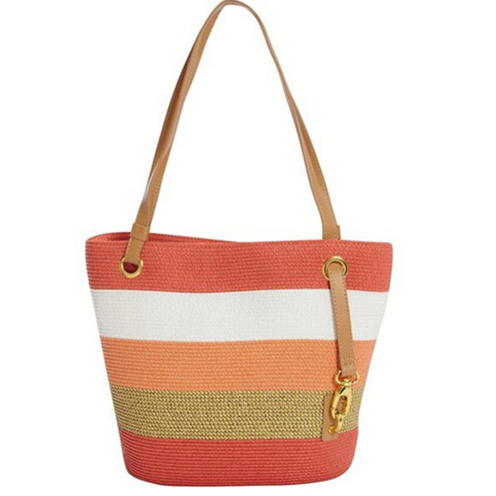 2016 Hot Summer Lady Lurex Stripe Small Tote Paper Straw Bag