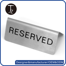 Customized stainless steel stand metal reserved table sign