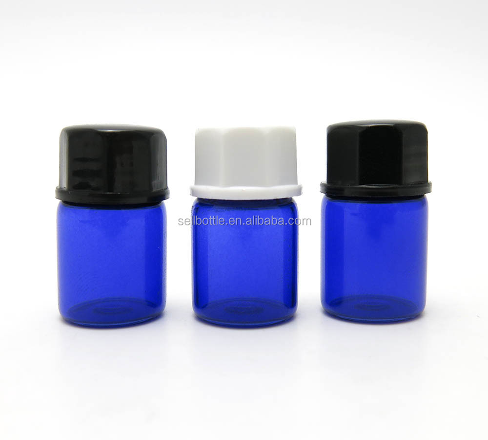 Free sample 2ml empty cobalt/blue essential oil glass bottle perfume test vials