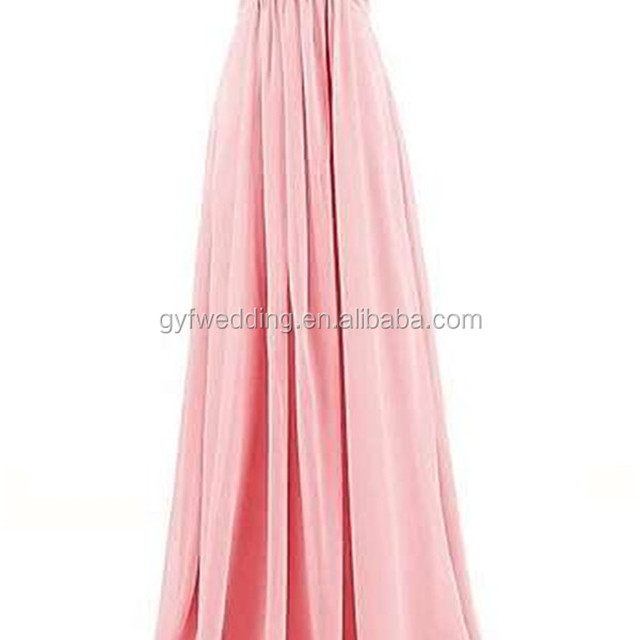 Free Shipping Cheap Hot Sale Peach Pink Sweetheart Ruched waist Empire Chiffon Floor-Length Long Bridesmaid Dress C48-5