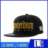 popular men leather brim cotton snapback fashion cap