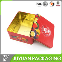 Empty metal tin tea packaging box 100 tea bag storage container