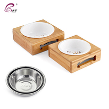 Double wooden support stainless steel pet bowl dog food feeder