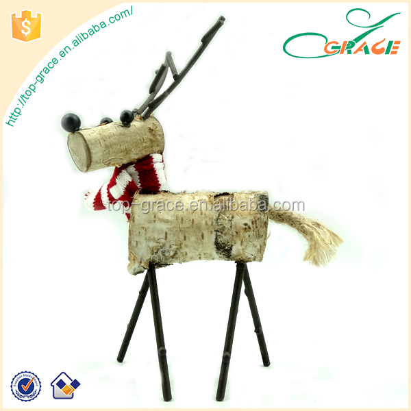 Wood crafts Xmas table piece Christmas wooden reindeer